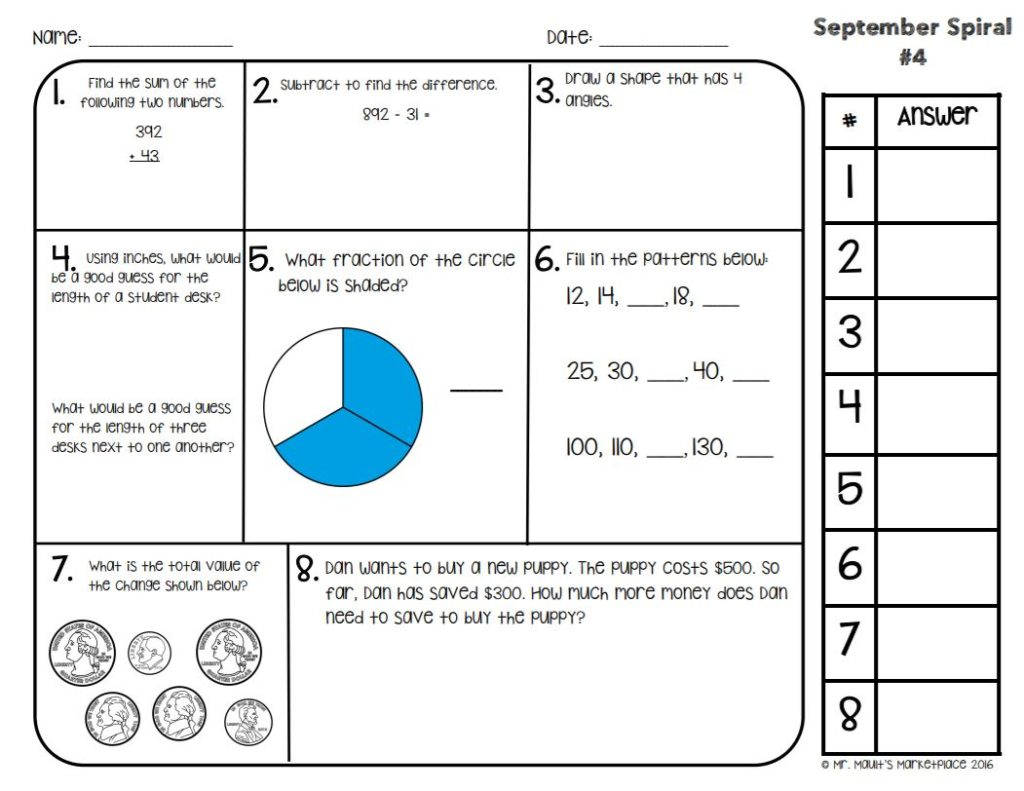Daily Math Spiral Review Sample